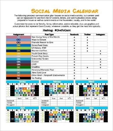 Social Media Calendar Template - 9+ Free PDF Documents Download