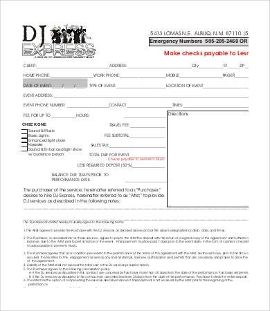 dj contract doc - Apmayssconstruction