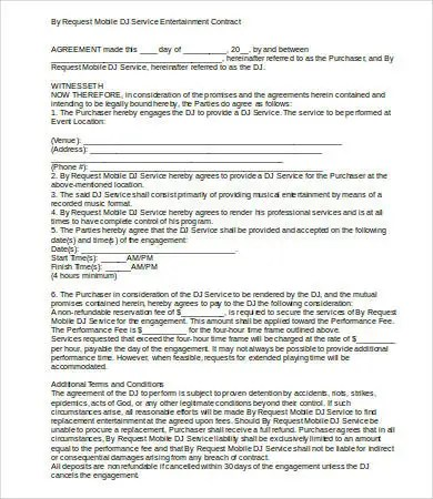 DJ Contract - 12+Free Word, PDF Documents Download Free - dj contract template