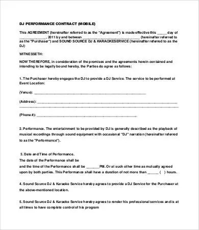 DJ Contract - 16+ Free Word, PDF Documents Download Free  Premium - performance contract templates