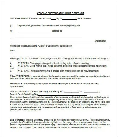 8+ Photography Contract Templates - Free Sample, Example, Format - photography contracts