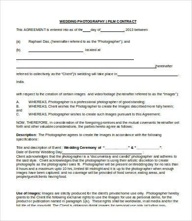 wedding contract photography template - Kordurmoorddiner