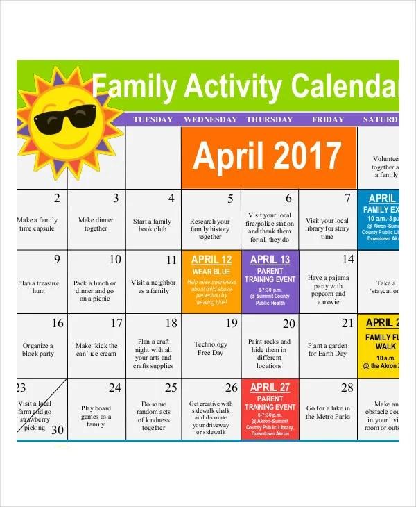 Activity Calendar Templates - 9+ Free PDF Format Download Free - sample activity calendar template