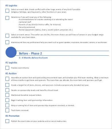 9+ Sample Event Checklist Template - Free Sample, Example, Format - sample event checklist template