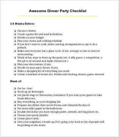 Party Checklist Template - 9+ Free Word, PDF Documents Download