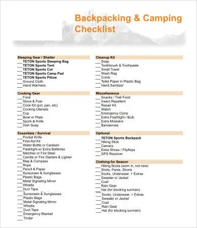 Sample Camping Checklist oakandale