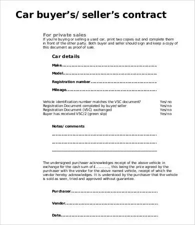 car sale agreement sample - Funfpandroid - car sale contract example