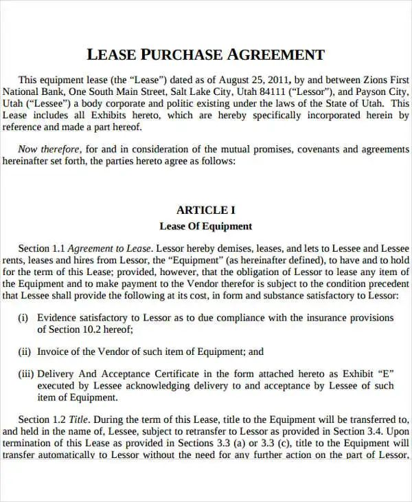 rent to own contract templates