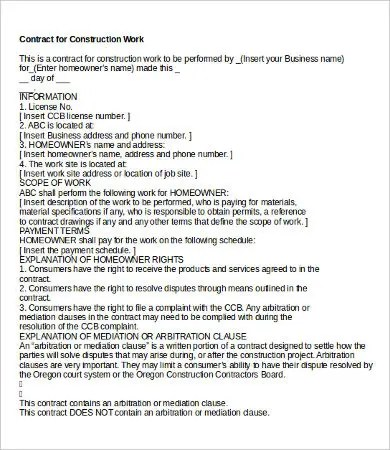 15+ Sample Construction Contract Templates - Free Sample, Example - contract for construction work template