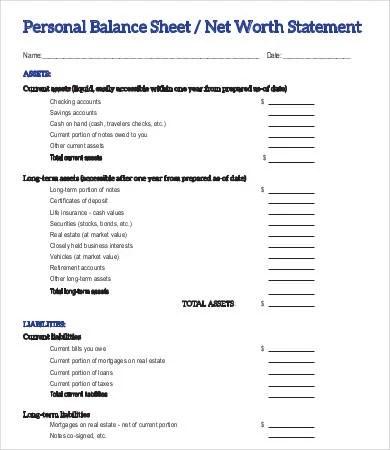 Personal Balance Sheet Template - 16+ Free Word, Excel, PDF - balance sheets format