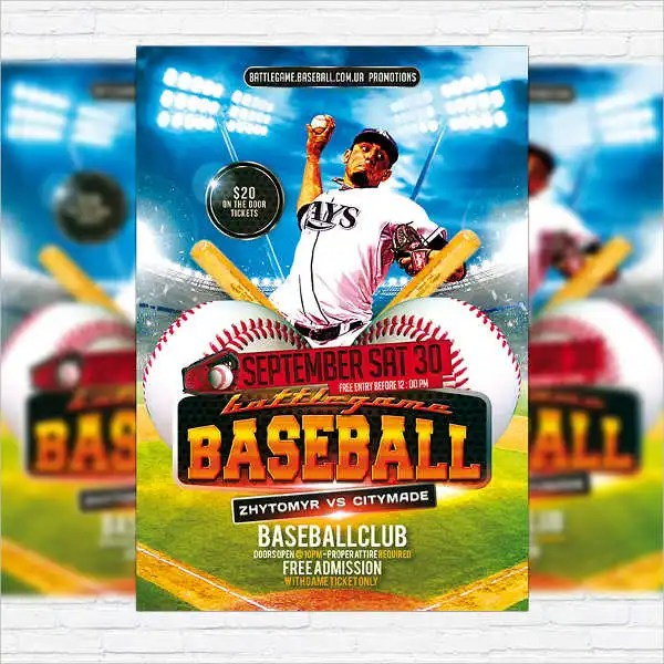 16+ Baseball Flyer Templates - PSD, AI, Vector EPS Free  Premium