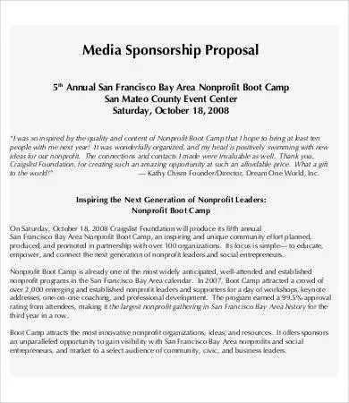 Sponsorship Proposal - 9+ Free PDF Documents Download Free