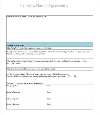 10+ Sample Nanny Contract Templates - Free Sample, Example, Format
