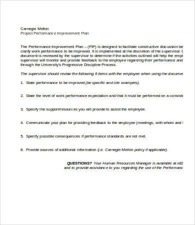 Performance Improvement Plan Template - 13+ Free Word, PDF Documents