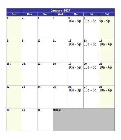 Printable Calendar Template - 10+ Free Word, PDF Documents Download - printable calendar template