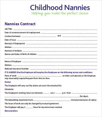 13+ Sample Nanny Contract Templates - Word, Pages Free  Premium