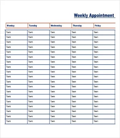 printable appointment schedule template - Yelommyphonecompany