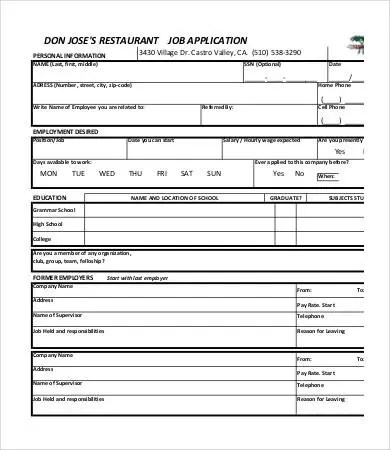 Printable Job Application Template - 10+ Free Word, PDF Documents - Printable Employment Application