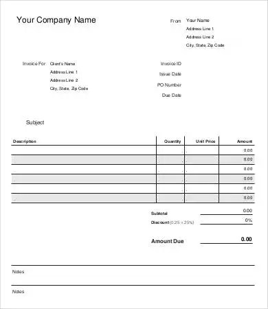 free sample of invoice - Funfpandroid - Free Basic Invoice Template