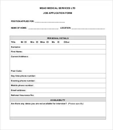 Printable Job Application Template - 10+ Free Word, PDF Documents - printable application