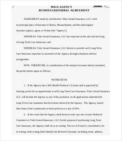 Referral Agreement Templates - 9+ Free PDF Documents Download Free - business agency agreement template