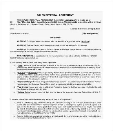 Business Referral Agreement Sample Independent Contractor - commission contract template