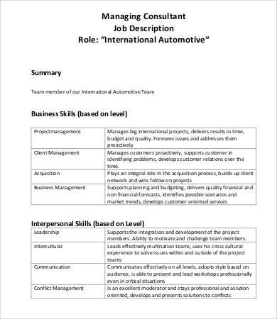 10+ Consultant Job Descriptions - PDF, DOC Free  Premium Templates - management job description