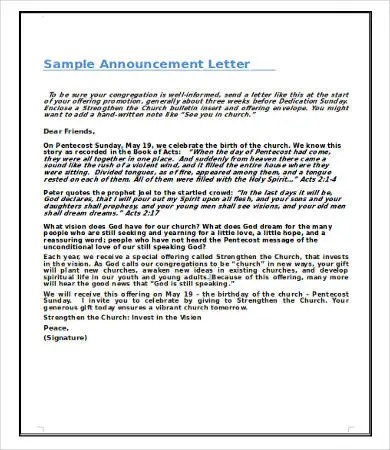 Announcement Letters - 9+ Free Word, PDF Documents Download Free