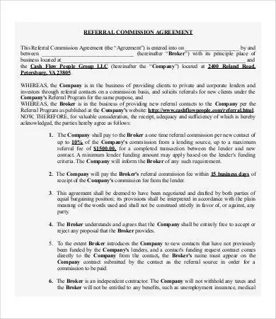 Commission Agreement Example Agencies Commission Agreement - commission contract template