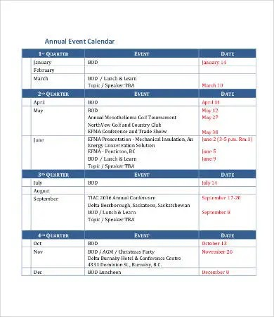 Annual Calendar Template - 9+ Free PDF Documents Download Free