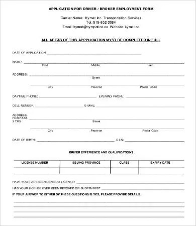Application For Employment Form - 9+ Free Word, PDF Documents - application for employment