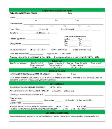 Application For Employment Form - 9+ Free Word, PDF Documents - employment application forms