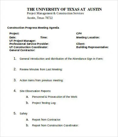Construction Meeting Agenda Template - 6+ Free Word, PDF Documents