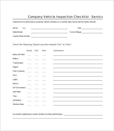 Vehicle Checklist Templates - 14+ Free PDF Documents Download Free