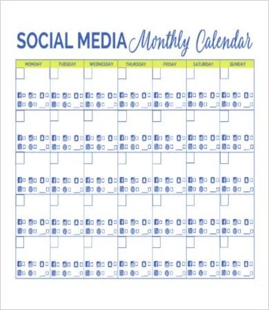 8+ Social Media Calendar Templates \u2013 Free Sample, Example Format
