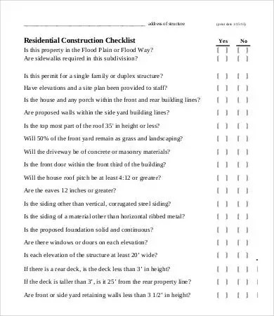 House N Home Building Who Have Purchased The House Construction Checklist Template 10 Free Word Pdf