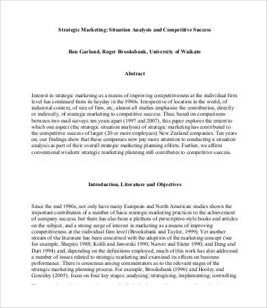 Situation Analysis Template - 9+ Free Word, PDF Documents Download - analysis paper template