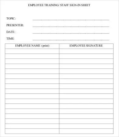 Training Sign In Sheet Template - 9+ Free Word, PDF Documents - training roster template
