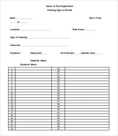 Training Sign In Sheet Template - 15+ Free Word, PDF Documents