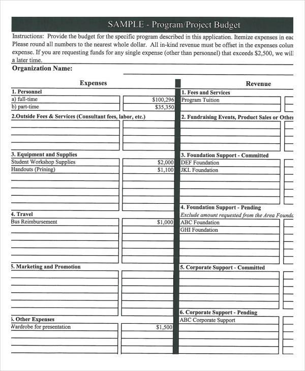 Program Budget Template - 9+ Award Certificates - Free Sample - sample program budget template
