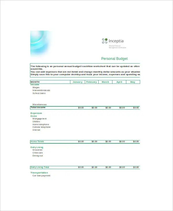 Excel Home Budget Templates - 6+ Free Excel Documents Download