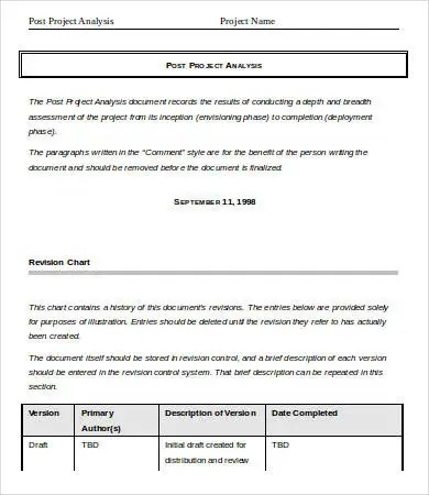 Project Analysis Template - 9+ Free Word, PDF Documents Download - project analysis