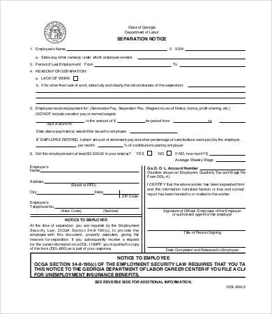 Separation Notice - 8+ Free Word, PDF Documents Download Free - employee separation form template