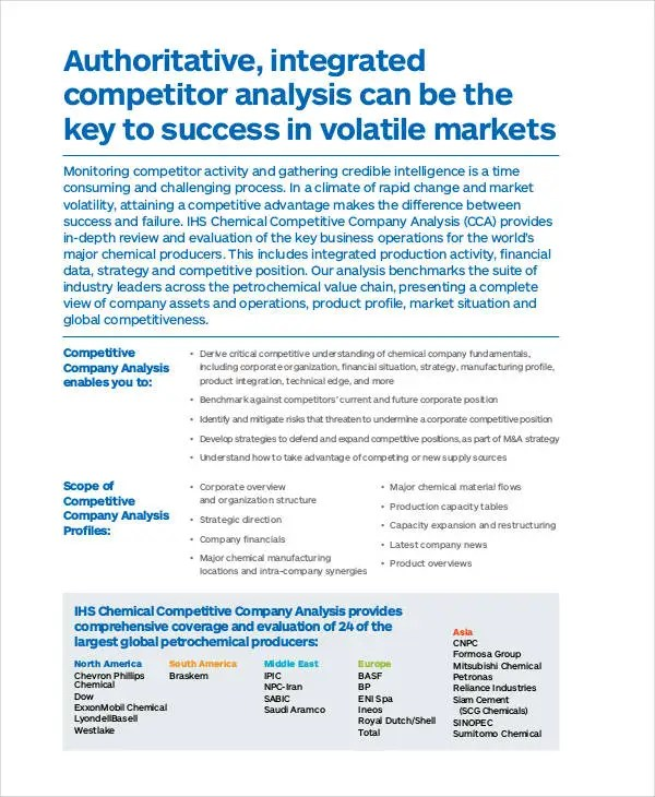 company analysis template - Intoanysearch - competitor matrix template