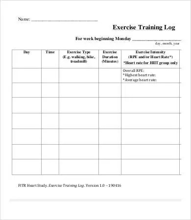 Exercise Log 9+ Free PDF Documents Download Free  Premium Templates - exercise log template