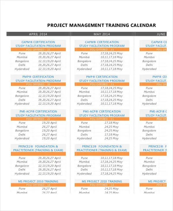 Project Calendar Templates - 9+ Free Word, Excel, PDF Format