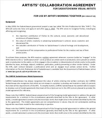 Artist Contract Template - 13+ Free Word, PDF Documents Download - artist agreement contract