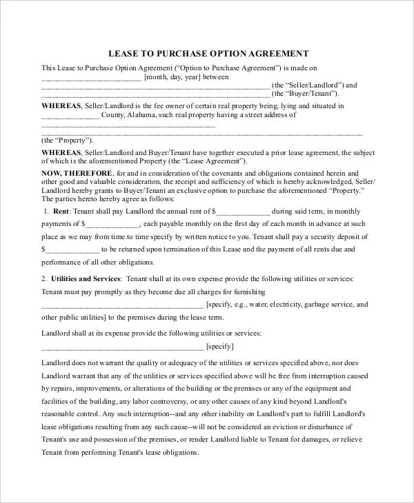 Purchase Contract Template - 9+ Free Word, PDF Documents Download - Lease Purchase Agreement
