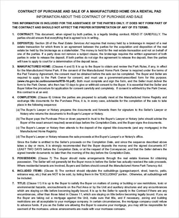 Purchase Contract Template - 9+ Free Word, PDF Documents Download - home purchase agreement template