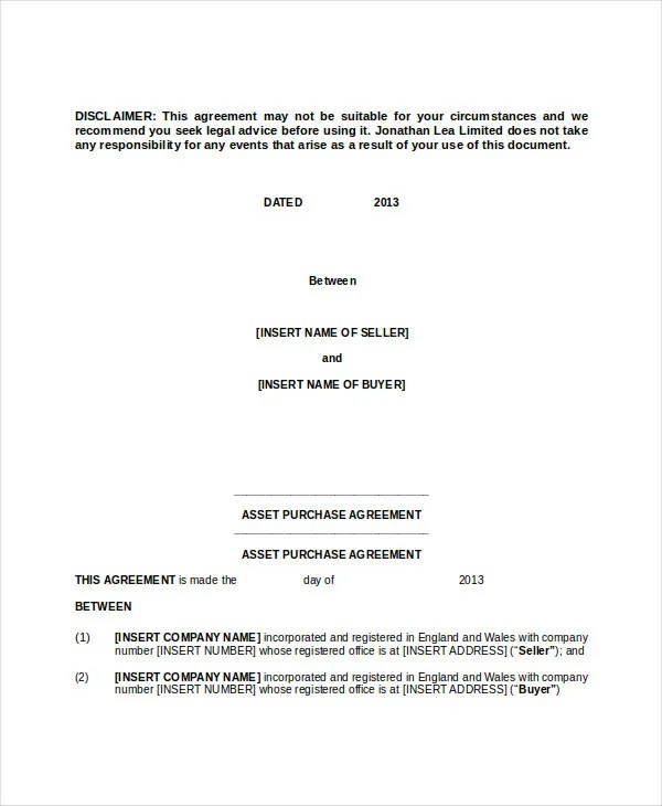 Purchase Contract Template - 9+ Free Word, PDF Documents Download - asset purchase agreement template